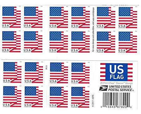 USPS US Flag 2018 Forever Stamps (Book of 20)
