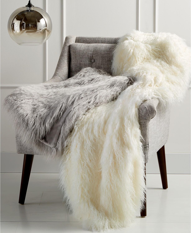 """Faux Mongolian Fur 50"""" X 60"""" Throw"""