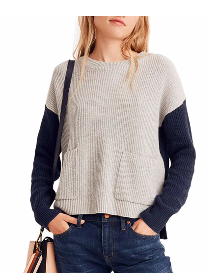 e09b6da80e4 Madewell Patch Pocket Colorblock Sweater - Locolow