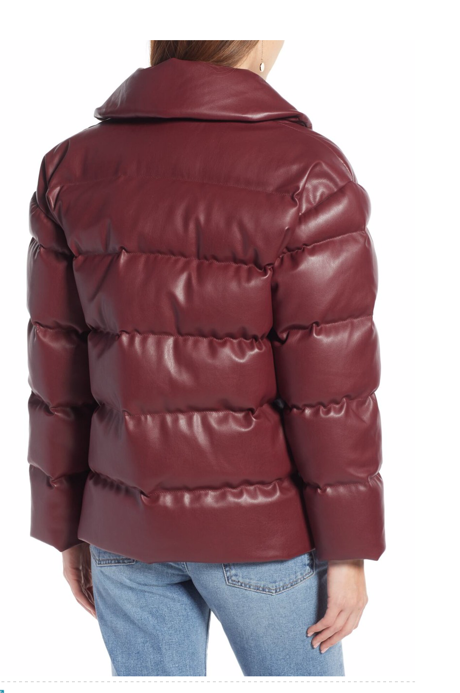 Something Navy Faux Leather Down Puffer Coat Locolow